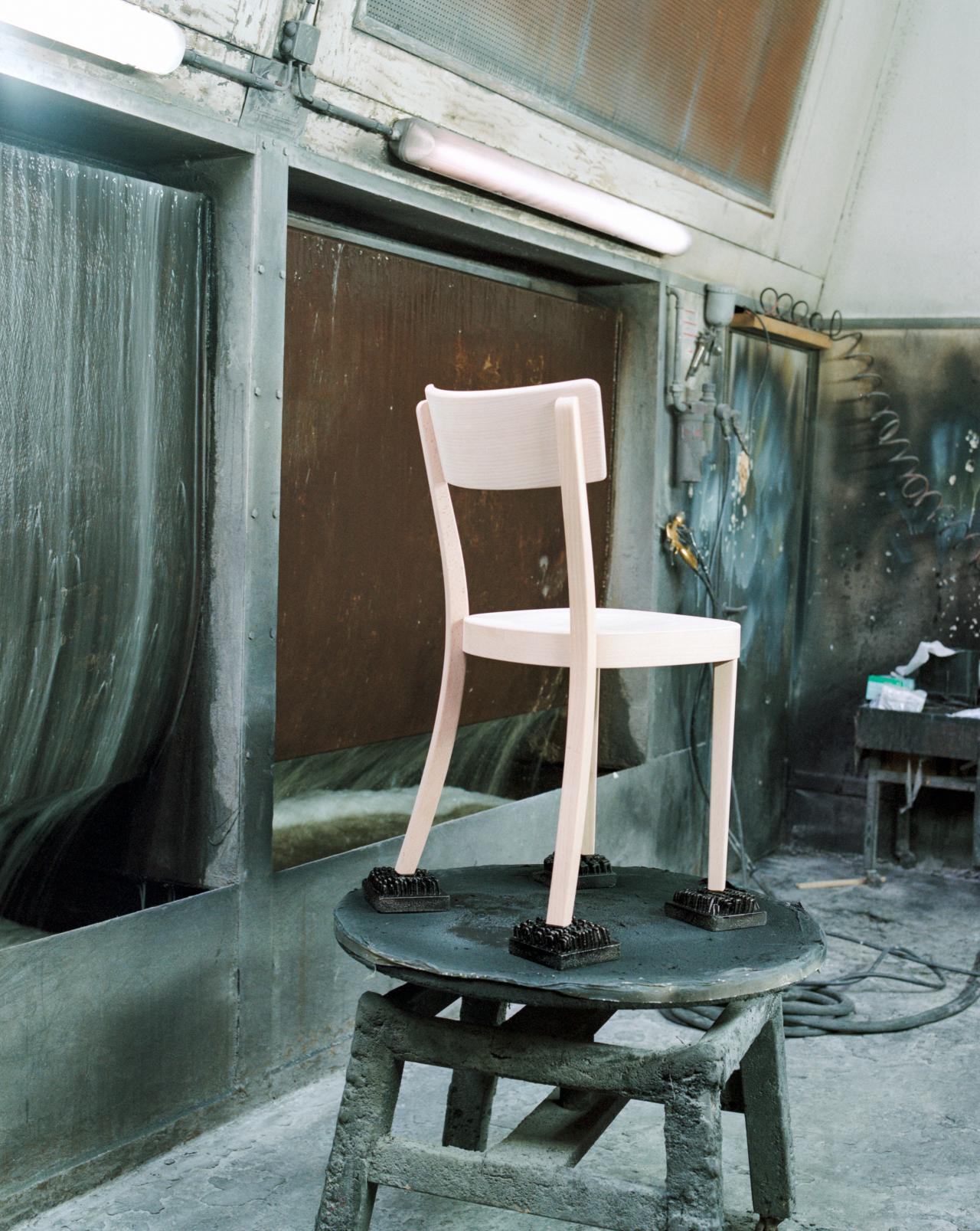 Chair on stool