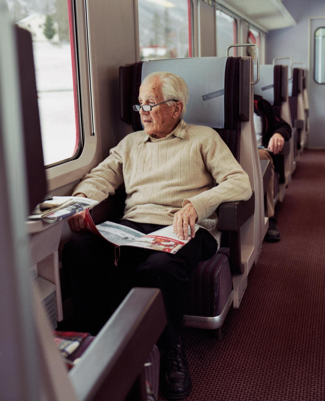 man in train