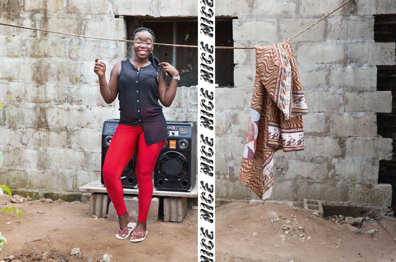 African woman in red leggins dancing