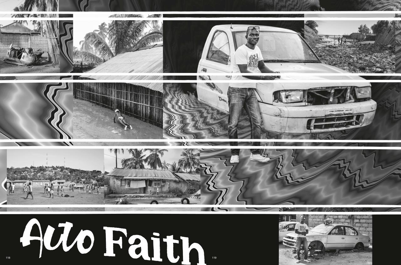 black and white scenery with Auto Faith graffiti